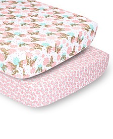 PSP Sheets Pink and Gold Butterfly/Pink Ditsy Floral, 2-Pack