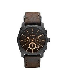 Machine Mid-Size Chronograph Brown Leather Watch 42mm
