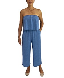 Juniors' Strapless Popover Jumpsuit