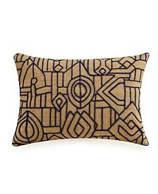 "Embroidered Hemp 14"" x 20"" Decorative Pillow"