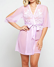 iCollection Cold Shoulder Detail with Floral Applique Mesh Robe