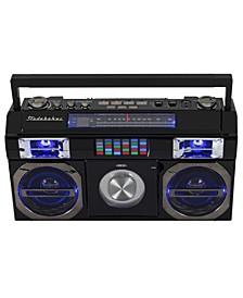 SB2145B 80's Retro Street Bluetooth Boombox with FM Radio, CD Player