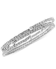 Nine West Bracelet Set, Silver-Tone Crystal Coil Bracelets