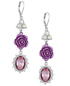 Silver-Tone Crystal & Rose Triple Drop Earrings