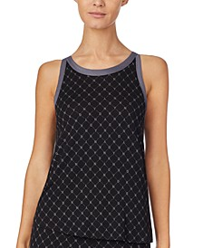 Contrast-Trim Logo-Print Sleep Tank Top