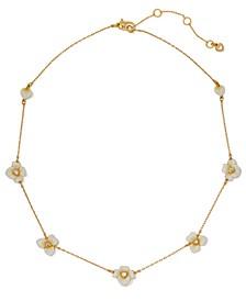 "Gold-Tone Cubic Zirconia & Enamel Flower Statement Necklace, 17"" + 3"" extender"