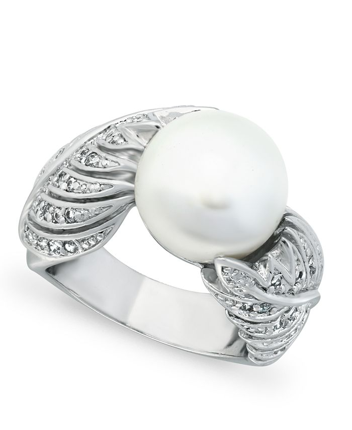 Macy's - Imitation Pearl and Multi Row Pave Cubic Zirconia Ring in Fine Silver Plate