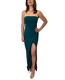Juniors' Strapless Slit-Hem Dress