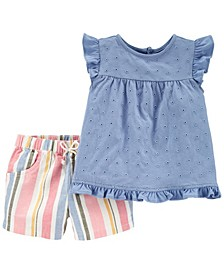 Baby Girl 2-Piece Chambray Top & Linen Short Set