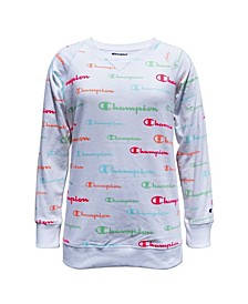 Big Girls Aop Multi Script French Terry Crew Sweatshirt