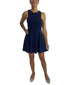Juniors' Cutout-Back Fit & Flare Dress