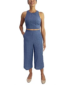 Juniors' 2-Pc. Crop Top & Gaucho Pants Set