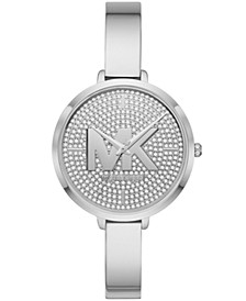 Women's Silver-Tone Half Bangle Bracelet Watch 38mm