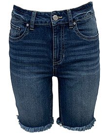 Juniors' High Rise Frayed Denim Bermuda Shorts