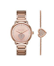 Michael Kors Women's Portia Rose Gold-Tone Stainless Steel Bracelet Watch 37mm Gift Set
