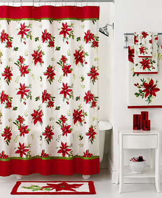 Closeout lenox bath accessories winter meadow holiday shower curtain shower curtains for Bathroom holiday shower curtains
