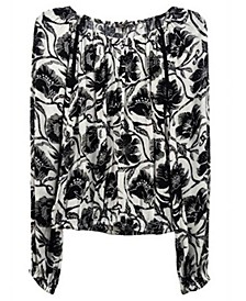 INC Floral-Print Peasant Top, Created for Macy's