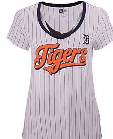 Women's Detroit Tigers Pinstripe V-Neck T-Shirt
