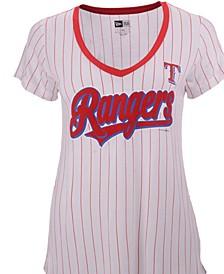 Women's Texas Rangers Pinstripe V-Neck T-Shirt