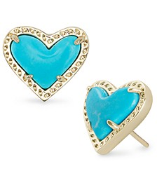 Stone Heart Stud Earrings