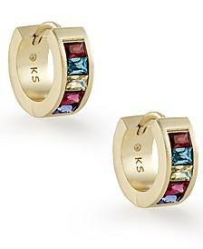 """Small Square Crystal Huggie Hoop Earrings, 0.5"""""""