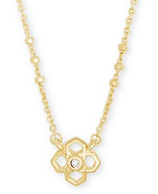 "Pavé Medallion Pendant Necklace, 15"" + 2"" extender"