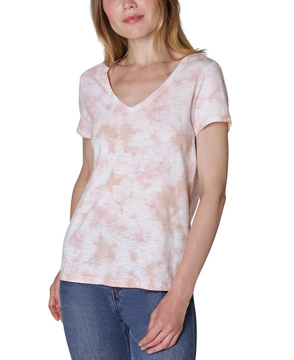Ultra Flirt Juniors' V-Neck Tie-Dyed T-Shirt