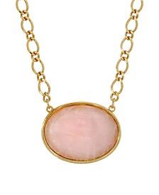 Gold-Tone Rose Quartz Semi Precious Oval Stone Necklace