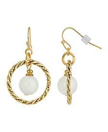 Gold-Tone Semi Precious Round Stone in Hoop Earrings