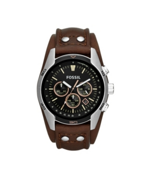 FOSSIL MEN'S COACHMAN BROWN LEATHER WATCH 45MM