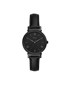Women's Daisy Black Leather Strap Watch 34mm