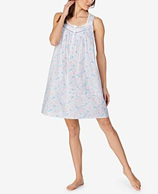 Cotton Floral Printed Sleeveless Nightgown