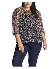 Women's Plus 3/4 Sleeve Botanic Charm Blouse