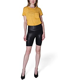 Juniors' Faux-Leather Bike Shorts