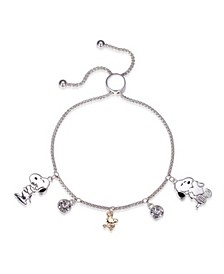 """Snoopy"" and ""Woodstock"" Crystal Adjustable Bolo Stainless Steel Bracelet with Silver Plated Charms, Created for Macy's"