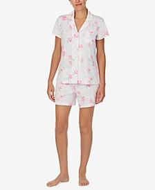 Printed Boxer Short Pajama Set