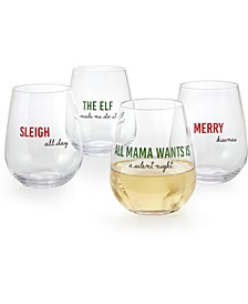 Cheer Stemless Wine Glasses, Set of 4, Created for Macy's