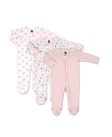 Baby Girls Flowers Stars 3 Pack Sleepers