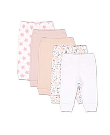 Baby Girls Flowers Stars 5 Pack Cuffed Pants