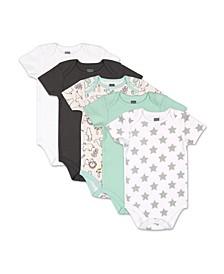 Baby Boys and Girls Safari 5 Pack Short Sleeve Bodysuits