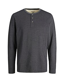 Men's Long Sleeve Henley Tee Shirt