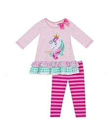 Baby Girls 2-Pc.s Unicorn Top & Striped Leggings Set