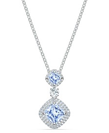 "Silver-Tone Blue Double Crystal Pendant Necklace, 14-7/8"" + 2"" extender"