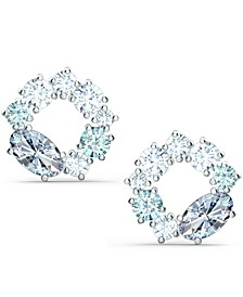 Silver-Tone Crystal Circle Stud Earrings