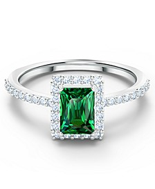 Silver-Tone Pavé & Green Crystal Rectangular Ring