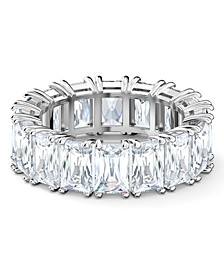 Silver-Tone Baguette-Crystal Wide Ring