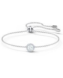 Silver-Tone Round Crystal Slider Bracelet