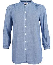 Petrel Printed Button-Down Blouson-Sleeve Shirt