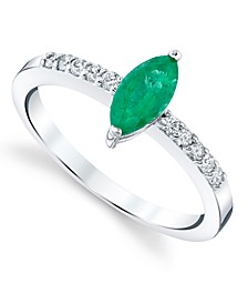 Emerald (5/8 ct. t.w.) & Diamond (1/6 ct. t.w.) Ring in 14k White Gold