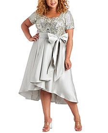 R & M Richards Plus Size Embellished High-Low Dress